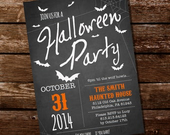Chalkboard Halloween Party Invitation - Halloween Invitation - Instant Download and Edit with Adobe Reader - Print at Home!