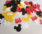 100 Confetti die cuts for Mickey Mouse Theme Party Scrapbooking READY To SHIP by FeistyFarmersWife