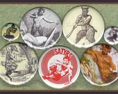 "10 Sexy Satyr pins MIXED SIZE set 1"" inch buttons AND 2.25 aka 2 1/4 inch mythological button set"