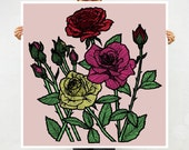 Roses Art Print - Home Decor - Ornate Drawing of Colorful Roses - Modern Contemporary Art - Square Giclee Archival Print