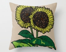 Ornate Sunflowers Pillow, Double Sided Throw Pillow, Summer Decor, Sunflower Decor, Beige Pillow, Sunflower Pillow Cover, Summer Pillows