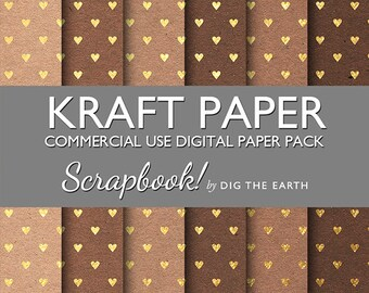 INSTANT DOWNLOAD Kraft Paper with Gold Hearts Digital Collage Sheets 12x12 inch Set of 6 Digital Papers Commercial Use Kit SDTE0039