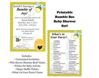Bumble Bee Baby Shower Set, Bumble Bee Theme Printable Baby Shower Package, Mommy to Bee Theme Baby Shower Invitation, Bee Baby Shower Game
