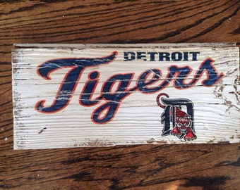 "Detroit tigers 12""x5"" weathered barn wood sign"