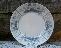 "9"" Luncheon Plate ~ 1890's Johnson Brothers ""Sylvan"" English Transferware DW-126  ~  Antique ~ Blue/Gray Transferware -  Semi-Porcelian"