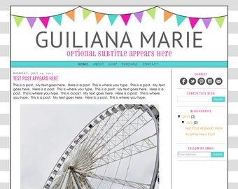 Blogger Template Premade Blog Design Theme - Guiliana Marie - INSTALLATION INCLUDED - Responsive, Teacher Blog, Colorful, Rainbow, Bunting