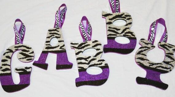 Rhinestone Zebra Print Decorative Wall Letters Nursery Decor