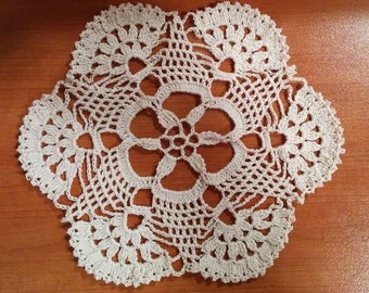 Round lace ecru doily crochet