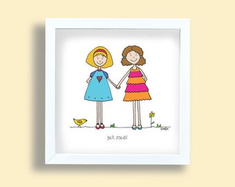 Best friends art print, two girls drawing, girls room art print, fuchsia, orange, blue kids room, girls poster, best friend present