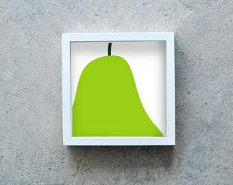 Pear art print, Green pear poster, fruit wall art, kitchen decoration, light green square art print, modern art