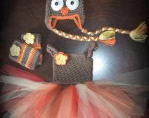 Crochet Turkey Costume Tulle Tutu Dress with Matching Hat & Legwarmers Baby Costume Handmade Photo Prop