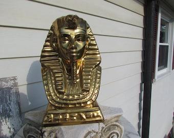 Vintage Egyptian Egypt Pharoh King Head Bust Statue Gold