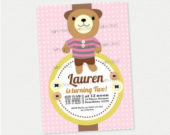 Teddy Bear Pink Birthday Invitation - DIY Printable
