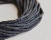dark green/black serpentine stone matte finish heishi beads (1 strand)