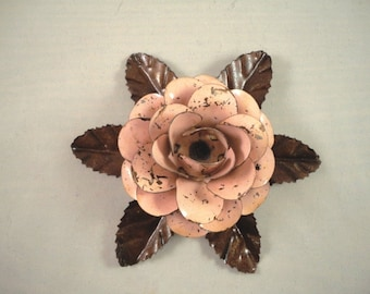 Large Metal Hand Cut and Hand Painted Rustic Light Pink Color Rose Mounted on a Bed of Metal Leaves.