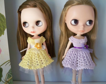 Crochet Dress + Underskirt for Blythe Doll