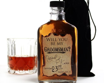 Asking Groomsmen, Groomsmen Gifts, Personalized Flasks, Outdoor Wedding, Rustic Wedding, Burned Design
