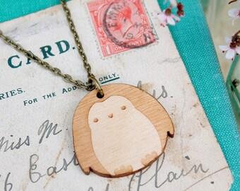 Laser Cut Wooden Penguin Necklace