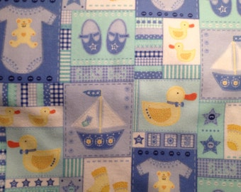 FLANNEL - Baby Boy Fabric - Blue, Green, and Yellow