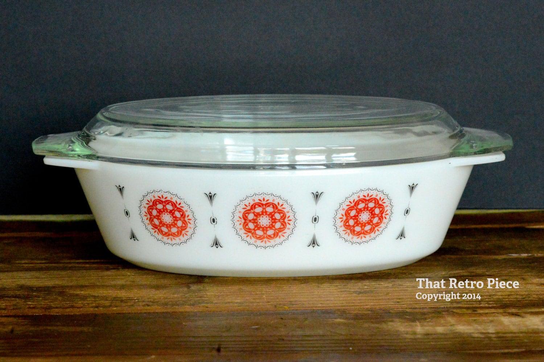 jaj pyrex oval casserole dish with lid circa 1968. Black Bedroom Furniture Sets. Home Design Ideas