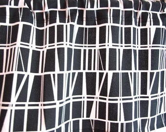 Curtain panel black white checkered Modern Geometrical Decor Cafe curtain Kitchen valance , also runner , napkins available, great GIFT