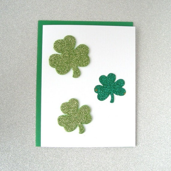 St. Patrick's Day Card - Three Green Glitter Shamrocks