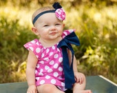 Hot Pink White Polka Dot Navy Bow Peasant Dress - Baby Toddler Girl