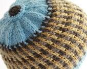 Hand Knit Beanie Men's Wear Sky Blue Button Top Women's Winter Fashion Ready To Ship
