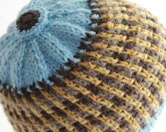 Hand Knit Beanie Men's Wear Sky Blue Button Top Women's Winter Fashion Ready To Ship