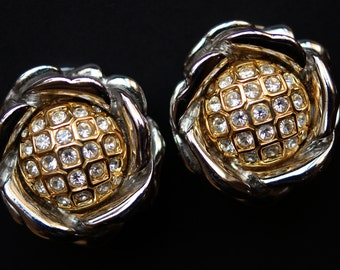 Nolan Miller Earrings, Vintage Nolan Miller Two Tone Rhinestone Flower Clip Earrings