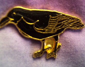 American Raven, Hand Painted, Brooch, Gold Plated, Lead Free