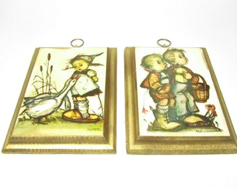 Set of 2 Vintage Hummel Wall Plaques, Hummel collectables, Hummel Wall Hangings