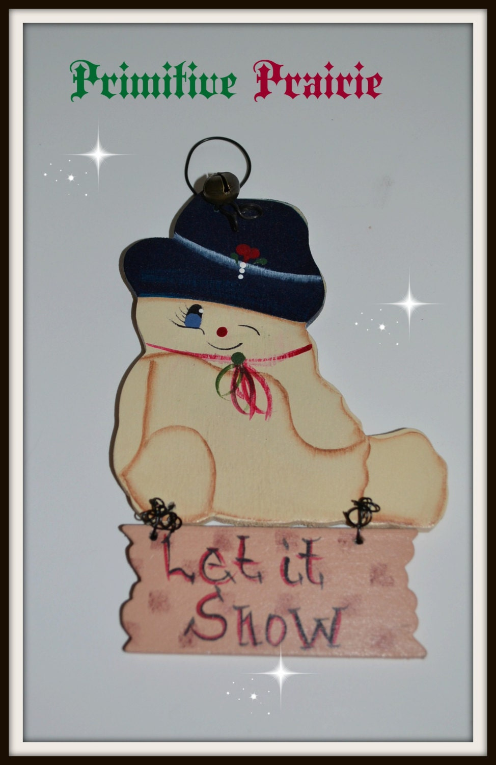 primitive, snowman ,ornament, gift tag, handmade, ofg team, wall hanging, made in usa, free shipping