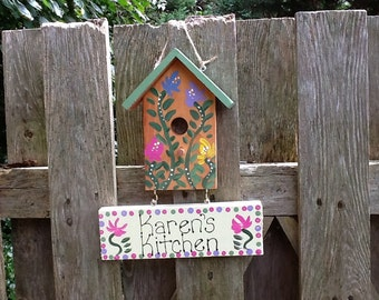 Personalized birdhouse kitchen sign