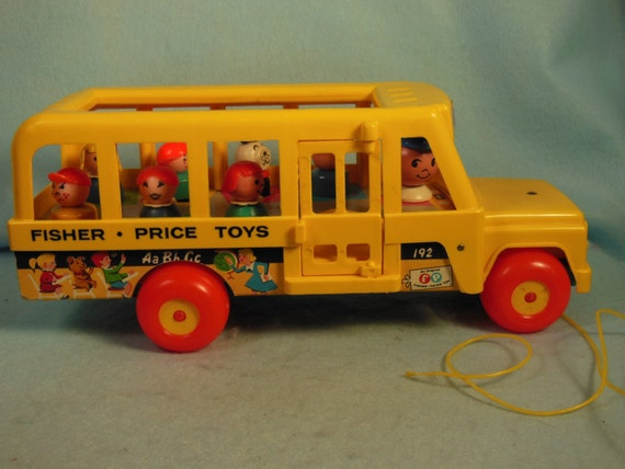 vintage 1977 fisher price school bus number by wesleytaylorstoys. Black Bedroom Furniture Sets. Home Design Ideas