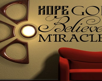 Hope,God,Believe Inspirational Quote Wall Decal Quote Home Decor art Vinyl Sticker (430)