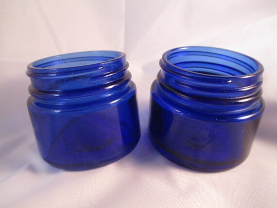Cobalt Blue Noxzema Jars Bottles By Chickencoopvintage On Etsy