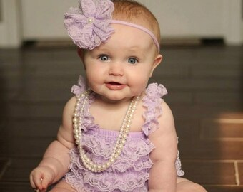Lavender Lace Petti Romper and Headband Set, Baby Romper, Pettiromper, Smash Cake Birthday Outfit, Vintage Clothing Purple 6 9 12 24 Months