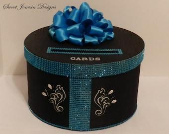 Bling Wedding Card Box Black and Turquoise Diamond Mesh Wrap Birthday Anniversary