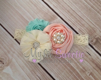 New mint, peach, ivory trio - Vintage style headband-  wedding headband - adult headband- teen headband- toddler headband- infant headband