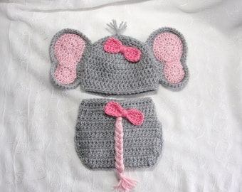 Newborn Baby Girl Elephant Hat with Matching Diaper Cover Set,Photo Prop,Crochet Elephant Hat,Newborn Diaper Set,Crochet Elephant Diaper Set