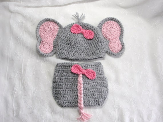 Crochet Pattern For Baby Elephant Hat : Newborn Baby Girl Elephant Hat with Matching Diaper Cover