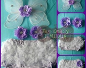 6-12 Months Lavender Purple White Dots Diaper Cover Bloomer Set with flower hair clips and white butterfly wings