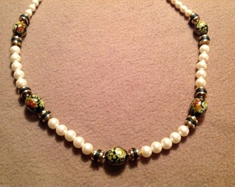 Vintage Faux Pearl Necklace with Floral Hand Painted Beads