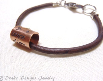 Graduation gift carpe diem Bracelet leather seize the day
