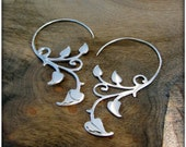 Sterling Silver Ivy Vine Art Nouveau Earrings ~ Like Fake Gauges but fit Standard Piercings ~ Fairy Elven Forest Spiral Earthy Garden