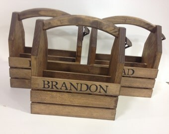 3 Personalized Rustic 6-pack beer bottle carrier 12 oz longnecks wood six pack homebrew tote new gift wedding groomsman birthday fathers day