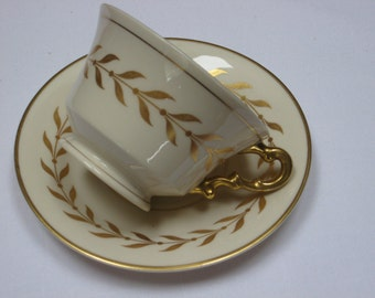 """Syracuse China Old Ivory """"Jefferson"""" Gold Laurel Pattern Footed Teacup and Saucer"""