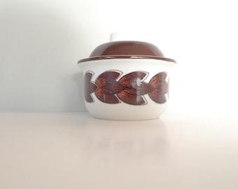 Vintage Sugar Bowl - Stavangerflint Karin Brown Leaves Norwegian retro