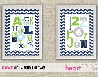 alphabet and number chevron nursery wall art bundle - (navy blue, green, gray) digital file